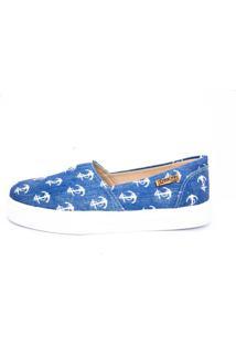 Tênis Slip On Quality Shoes Feminino 002 Jeans Âncora Branca 35