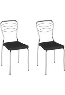 Conjunto Com 2 Cadeiras Sil Preto E Cromado