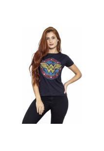 Camiseta Sideway Mulher Maravilha Logo - Preta