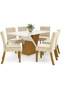 Sala De Jantar Mesa Solus 160Cm Com 6 Cadeiras Maris Nature/Off White/