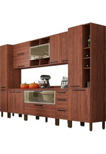 Cozinha Modulada Completa 11 Peças Viv Concept C09 Nogueira/Off White