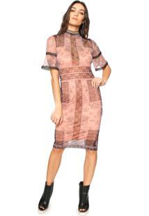 1431370c6 Dafiti. Vestido Colcci Midi Tule Estampado Rosa