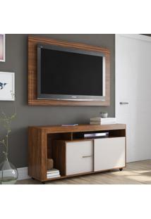 Rack Com Painel Para Tv Até 55 Polegadas 2 Portas Tripoli Seda/Off White - Viero Móveis