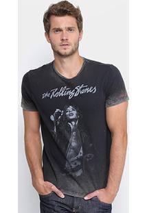 Camiseta Ellus Estampada Rolling Stones Masculina - Masculino-Preto
