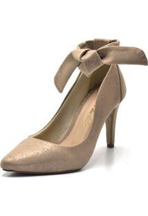 Sapato Scarpin Com Laço Salto Alto Fino Em Nobucado Areia Cintilante - Kanui