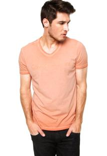 Camiseta Manga Curta Calvin Klein Jeans Logo Laranja