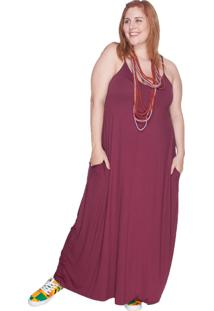 Vestido Longo Alça Fina Bold Plus Size Vinho