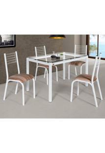 Conjunto De Mesa De Cozinha Com 4 Lugares Camila Corino Branco E Capuccino