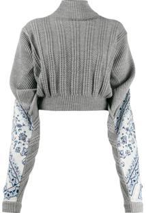 Y/Project Suéter Com Estampa Floral Nas Mangas - Cinza