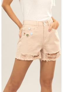 Shorts Hot Pant Califórnia Broche Bege Papiro - Lez A Lez