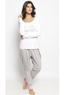 "Pijama ""Eu Amo"" - Branca & Rosamalwee"