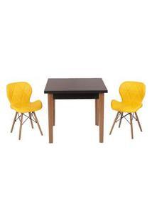 Conjunto Mesa De Jantar Luiza 80Cm Preta Com 2 Cadeiras Slim - Amarelo