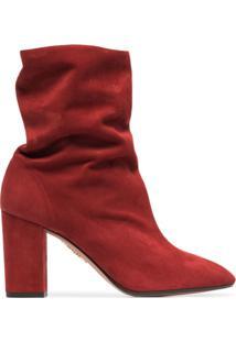 Aquazzura Ankle Boot 'Boogie 85' De Camurça - Vermelho