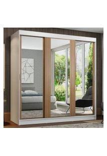 Guarda-Roupa Casal Madesa Reno 3 Portas De Correr De Espelho Branco/Rustic Cor:Branco/Rustic