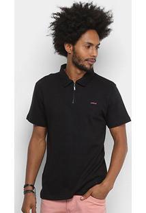 Camisa Polo Colcci Básica Zíper Masculina - Masculino-Preto