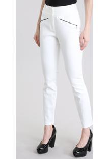Calça Skinny Em Jacquard Off White