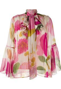 La Doublej Blusa Floral Com Laço Na Gola - Rosa