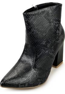 Bota Love Shoes Alta Salto Grosso Cano Curto Bico Fino Recortes Lezard Preto