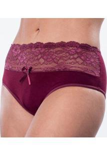 Calcinha Cotton Cintura Alta Com Detalhes - Feminino-Vinho