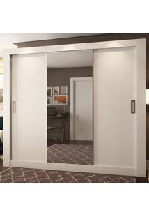 Guarda-Roupa Casal 2 Metros 3 Portas De Correr Com Espelho Madri Ultra Branco - Pnr Móveis