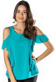 Blusa Lisa Com Ombros Vazados - Azuldwz