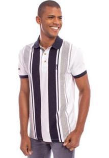 Camisa Polo Aleatory Listrada Main Masculina - Masculino-Branco+Marinho