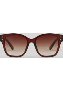 Óculos De Sol Feminino Quadrado Oneself Marrom - Único