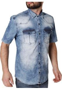 Camisa Jeans Manga Curta Masculina Bivik Azul