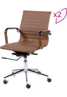 Jogo De Cadeiras Office Eames Esteirinha- Caramelo- Or Design