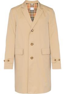 Burberry Trench Coat Com Abotoamento Simples - Neutro
