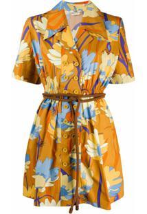 Fendi Vestido Com Estampa Floral - Amarelo