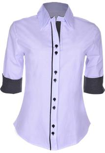 Camisa Outletdri Liso Com Manga E Gola Estampada Branco