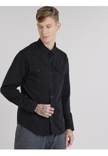 Camisa Masculina Com Bolsos Manga Longa Preta