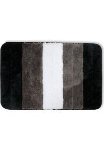 Tapete De Banheiro Em Microfibra 40X60Cm Preto, Cinza E Branco