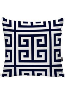 Capa De Almofada Geometric- Branca & Azul Marinho- 4Stm Home