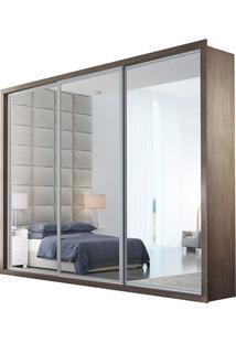 Guarda-Roupa Ravena Top Com Espelho - 3 Portas - 100% Mdf - Café