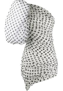 Giuseppe Di Morabito Puffed Sleeve Polka Dot Print Silk Dress - Branco