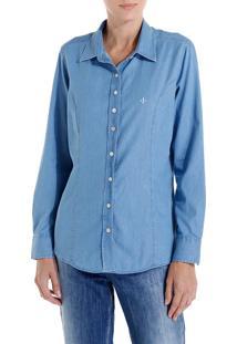 Camisa Ml Jeans Tradicional Essentials (Jeans Claro, 46)