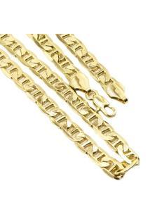 Corrente Cartier Francesa Tudo Jóias Folheada A Ouro 18K - Masculino-Dourado