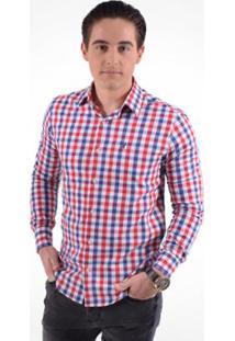 Camisa Xadrez Masculina Slim Social - Masculino-Vermelho