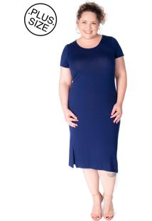 33df1af8e ... Vestidos Plus Size Arimath Plus Malha Azul Marinho