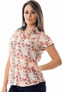 Camisa Pimenta Rosada Antoinette Floral - Feminino-Branco+Vermelho