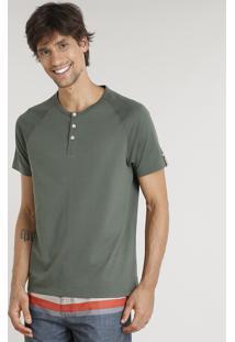 Camiseta Masculina Água De Coco Com Botões Manga Curta Gola Careca Verde Escuro