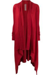 Rick Owens Cardigan Assimétrico Longo - Vermelho