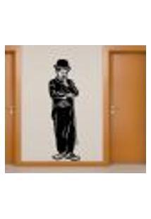 Adesivo De Parede Charlie Chaplin Sorrindo - Eg 196X60Cm