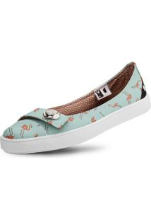 Sapatilha Usthemp Womanly Vegano Casual Estampa Flamingo Azul