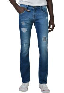 Calça Jeans Super Skinny Com Rasgos Yck'S Azul