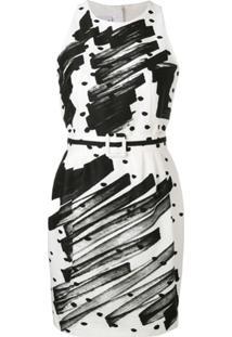 Moschino Brushstroke Faille Polka Dot Dress - Branco