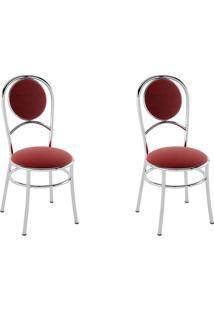 Kit 2 Cadeiras Pc03 Assento Nobuck Vermelho - Pozza