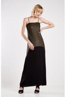 Vestido Malha Lurex Com Tecido Sacada Feminino - Feminino
